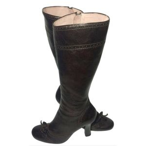 MIU MIU Brown Leather Riding Boots Women Size 8.5